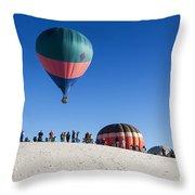 White Sands New Mexico Balloon Festival Throw Pillow