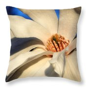White Saucer Magnolia Throw Pillow