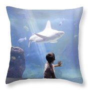 White Shark And Young Boy Throw Pillow by David Smith