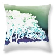 White Silhouette Of Oak Tree Against Blue And Green Watercolor Background Throw Pillow