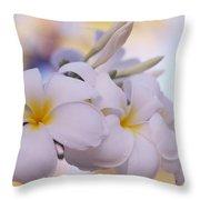 White Snow Frangipani Flowers Throw Pillow