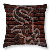 White Sox Baseball Graffiti On Brick  Throw Pillow by Movie Poster Prints