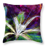 White Spider Flower On Orange And Plum - Vertical Throw Pillow