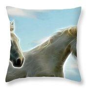 White Stallions Throw Pillow