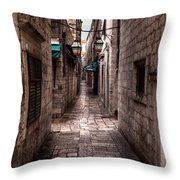 White Streets Of Dubrovnik No5 Throw Pillow