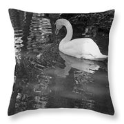 White Swan In Black And White II Throw Pillow