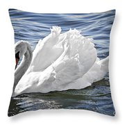 White Swan On Water Throw Pillow