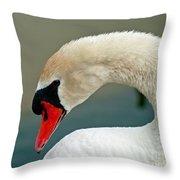 White Swan Profile Throw Pillow