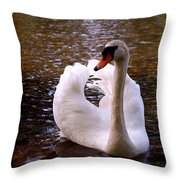 White Swan Throw Pillow by Rona Black