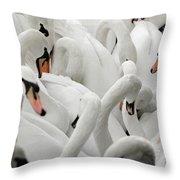 White Swans Throw Pillow