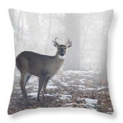 White Tailed Deer Buck In The Mist Throw Pillow