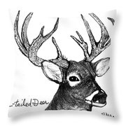 White-tailed Deer Head Throw Pillow