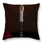 White Taper Candle Lit Art Prints Throw Pillow