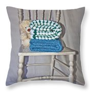 White Teddy And Chair Throw Pillow
