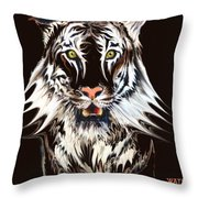 White Tiger 1 Throw Pillow