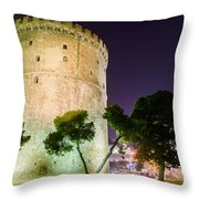 White Tower In Salonica Greece Throw Pillow
