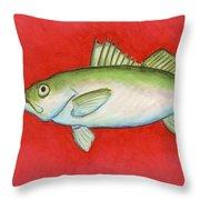 White Trout Throw Pillow