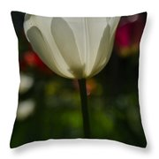 White Tulip Throw Pillow