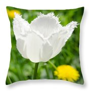 White Tulip On The Green Background Throw Pillow