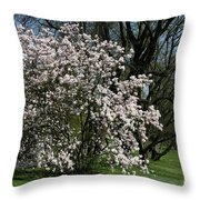 White Tulip Tree Throw Pillow