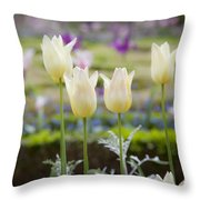 White Tulips In Parisian Garden Throw Pillow