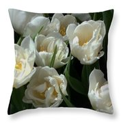 White Tulips In The Garden Throw Pillow