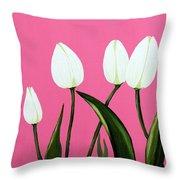 White Tulips On Pink Throw Pillow