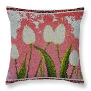 White Tulips On Pink In Stained Glass Throw Pillow