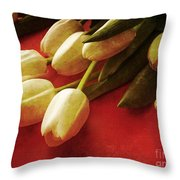 White Tulips Over Red Throw Pillow