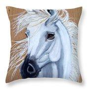 White Unicorn On Wood Throw Pillow