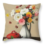 White Vase And Red Box Throw Pillow by Felix Elie Tobeen