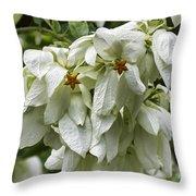 White Veil Of Tropical Flowers Throw Pillow