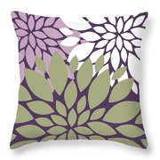 White Violet Green Peony Flowers Throw Pillow