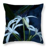 White Water Flower Throw Pillow