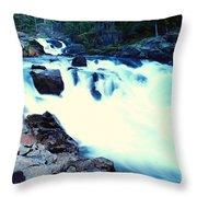 White Water On The Ohanapecosh River  Throw Pillow