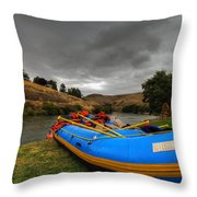 White Water Rafting Boat Throw Pillow
