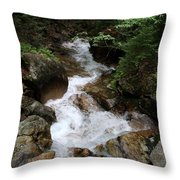 White Waters Over Granite Bolder Throw Pillow