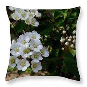 White Wildflowers Throw Pillow