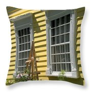 White Windows Yellow Wall Throw Pillow
