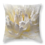 White Peony With A Dash Of Yellow Throw Pillow