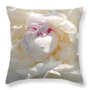 White With Red Peony Throw Pillow