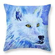 White Wolf - Aurora Nights In Blues - Square Throw Pillow