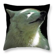 White Wolf In The Shade Throw Pillow