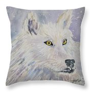 White Wolf Of The North Winds Throw Pillow