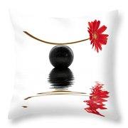 White Zen Gerbera Throw Pillow