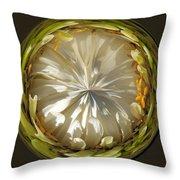 White Zinnia Button Throw Pillow