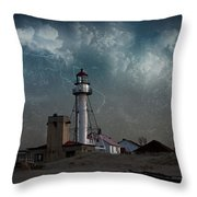 Whitefish Point Lighthouse Lake Superior Throw Pillow