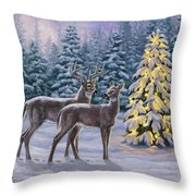 Whitetail Christmas Throw Pillow by Crista Forest