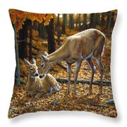 Whitetail Deer - Autumn Innocence 2 Throw Pillow by Crista Forest