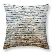 Whitewash Old Stone Wall Throw Pillow